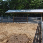 Cattle Working Shed with gates, guardrail pens.
