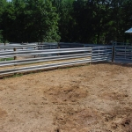 Good view of three pens which can all feed into the lane going into the cattle working shed – or to sort from pen to pen.